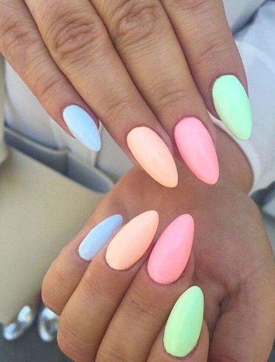 40+ Pretty Multicolored Nail Art Designs For Spring and Summer 2019 rainbow nails, colorful nail art design, French manicure, Multicolored Nail Art Designs